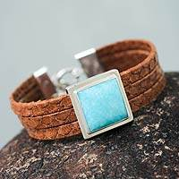 Leather and amazonite wristband bracelet, 'Hypnotic by Nature' - Amazonite on Brown Leather Wristband Bracelet