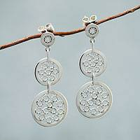 Sterling silver dangle earrings, 'Moonlit Honeycombs' - Modern Sterling Silver Earrings from Peru