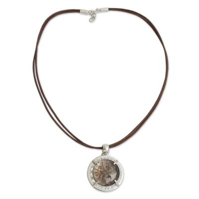 Smoky Quartz and Sterling Silver on Leather Necklace