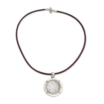 Quartz and Sterling Silver on Leather Necklace