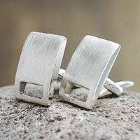 Sterling silver cufflinks, 'Window' - Brushed Sterling Cufflinks
