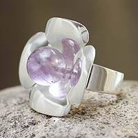 Amethyst flower ring, 'Dawn Flower' - Amethyst Silver Ring Artisan Jewelry
