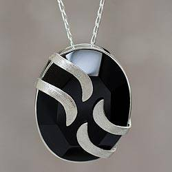 Obsidian pendant necklace, 'Andean Breeze' - Obsidian Necklace Artisan Crafted Peru Silver Jewelry