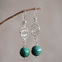 Chrysocolla dangle earrings, 'Friendship Chain' - Modern Sterling Silver and Chrysocolla Earrings from Peru