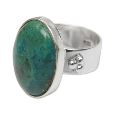 Sterling Silver and Chrysocolla Cocktail Ring