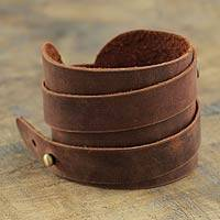 Men's leather wrap bracelet, 'Wari Warrior in Brown' - Men's Artisan Crafted Leather Wristband Bracelet