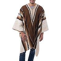 Men's 100% alpaca poncho, 'Inca Chief' - Men's Handowen Alpaca Wool Poncho