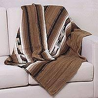 100% alpaca wool blanket, 'Huanca' (twin) - Handwoven Alpaca Wool Striped Blanket (Twin)