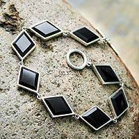 Onyx link bracelet, 'Night Diamonds' - Fine Silver Bracelet with Onyx