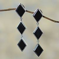 Onyx dangle earrings, 'Night Diamonds' - 950 Silver Earrings with Onyx
