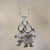 Silver pendant necklace, 'Love of My Life' - Little Boy and Girl Charm Handcrafted Silver Necklace