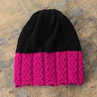 Alpaca blend hat, 'Hot Pink Contrast' - Pink and Black Alpaca Blend Hat