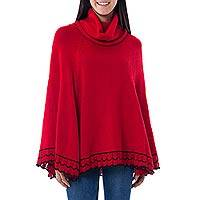 Alpaca blend poncho, 'Andean Passion' - Red Alpaca Blend Cowl Neck Poncho