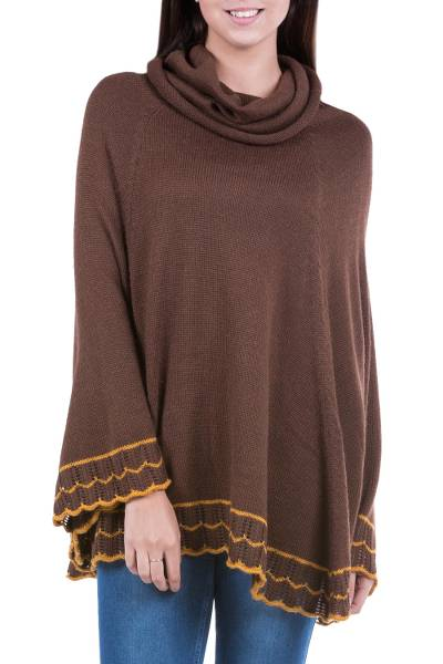 Brown Alpaca Blend Cowl Neck Poncho