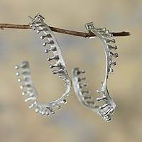 Sterling silver half hoop earrings, 'Helix' - Half Hoop Sterling Earrings