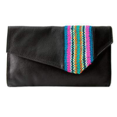 Black Leather Clutch Bag with Wool Panel