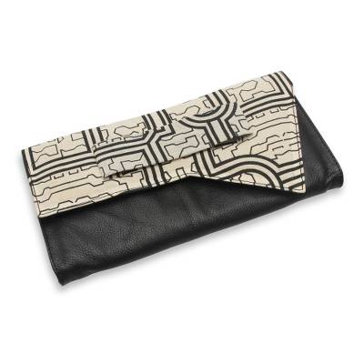 Black Leather Clutch Bag with Assymetrical Cotton Flap