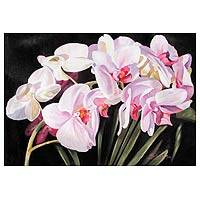 'Harmony in White' - White and Lilac Orchids Fine Art Signed Original Painting