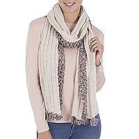 Alpaca blend scarf, 'Earthen Lace' - Crochet Trim Beige Alpaca Blend Scarf