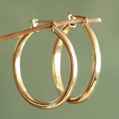 Gold vermeil hoop earrings, 'Minimalist Magic' - Classic Gold Vermeil Hoop Earrings