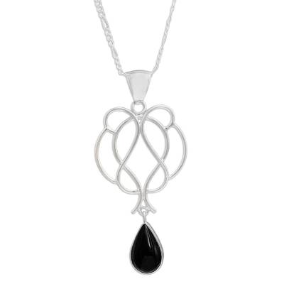 Handmade Sterling Necklace with Black Obsidian