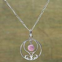 Rhodonite pendant necklace, 'Halo of Grace' - Andean Silver Necklace Set with Rhodonite