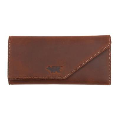 Leather wallet, 'Inca Hummingbird' - Women's Peruvian Hand Made Leather Wallet