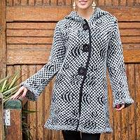 Alpaca blend hooded sweater coat, 'Op Art' - White and Grey Baby Alpaca Blend Hooded Sweater Coat