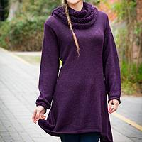 100% alpaca tunic sweater, 'Winter Grape' - Purple Alpaca Long Tunic Sweater