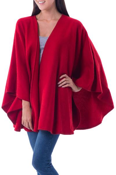 Artisan Crafted Open Front Red Alpaca Blend Ruana