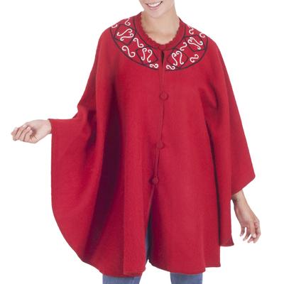 Red Alpaca Blend Ruana Cloak with Crochet Trim