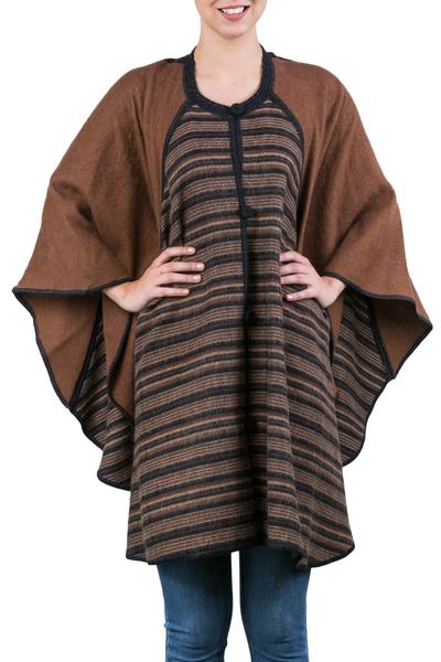 Brown Alpaca Blend Andean Ruana Cloak