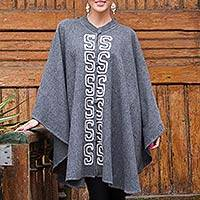 Alpaca blend ruana cloak, 'Misty Grey' - Grey Alpaca Blend Andean Ruana Cloak with White Embroidery