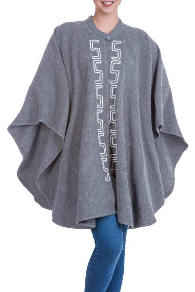 Grey Alpaca Blend Andean Ruana Cloak with White Embroidery