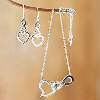 Sterling silver jewelry set, 'Infinite Love' - Necklace and Earring Set in Sterling Silver with Interlockin