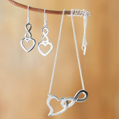 Sterling silver jewelry set, 'Infinite Love' - Andean Sterling Silver Earrings and Necklace Set