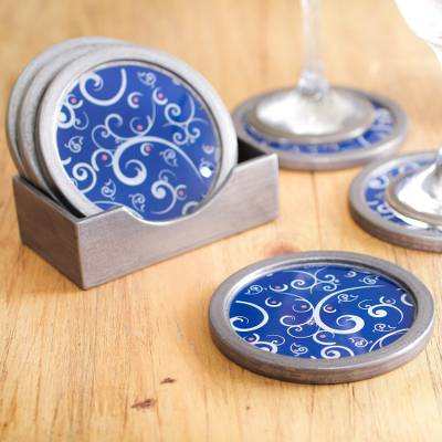 Painted glass coasters, 'Scintillating Night' (set of 6) - Peruvian Hand Painted Glass Blue Silver Coaster Set of 6