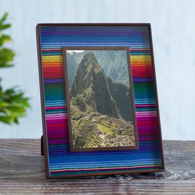 Glass photo frame, 'Puno Rainbow' (4x6) - Handcrafted Peruvian Weave and Glass Photo Frame (4x6)
