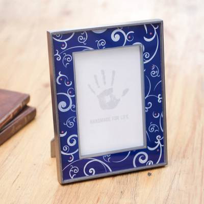 Painted glass photo frame, 'Scintillating Night' (4x6) - 4x6 in Reverse Painted Glass Photo Frame