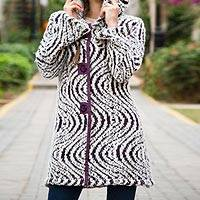 Alpaca blend hooded sweater coat, 'Hypnotic Purple' - White and Purple Baby Alpaca Blend Hooded Sweater Coat
