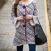 Alpaca blend hooded sweater coat, 'Ups and Downs'