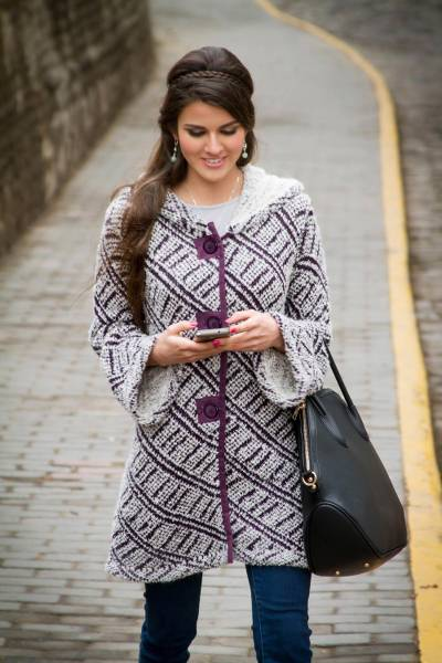 Alpaca blend hooded sweater coat, 'Ups and Downs' - Baby Alpaca Blend Hooded Sweater Coat in White and Purple