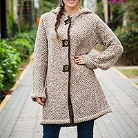 Alpaca blend hooded sweater coat, 'Sechura Sands' - Brown and White Baby Alpaca Blend Hooded Sweater Coat