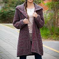 Alpaca blend hooded sweater coat, 'Misty Rose' - Red and Grey Baby Alpaca Blend Boucle Hooded Sweater Coat