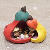 Ceramic nativity scene, 'Pepper Love' - Artisan Crafted Peruvian Nativity Scene