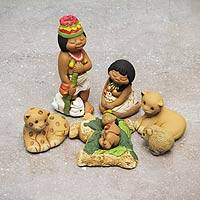 Ceramic nativity scene, 'Born in the Amazon' (set of 7) - Handpainted Traditional Nativity Scene from Peru Set of 7
