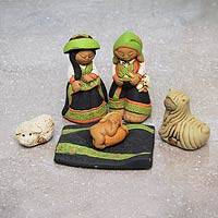 Ceramic nativity scene, 'Born in Colca' (set of 6) - Artisan Crafted Peruvian Nativity Scene Set of 6