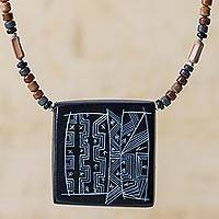 Ceramic pendant necklace, 'Night Sky' - Peruvian Ceramic Pendant Necklace with Silver Beads