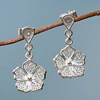 Sterling silver dangle earrings, 'Filigree Flowers' - Handmade Andean Sterling Silver Earrings