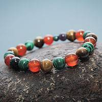 Multi gemstone stretch bracelet, 'Color Connection' - Natural Gemstone Bracelet with Ceramic Beads